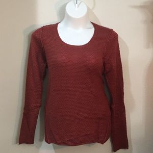Earthy Red Knit Scoop Neck Sweater